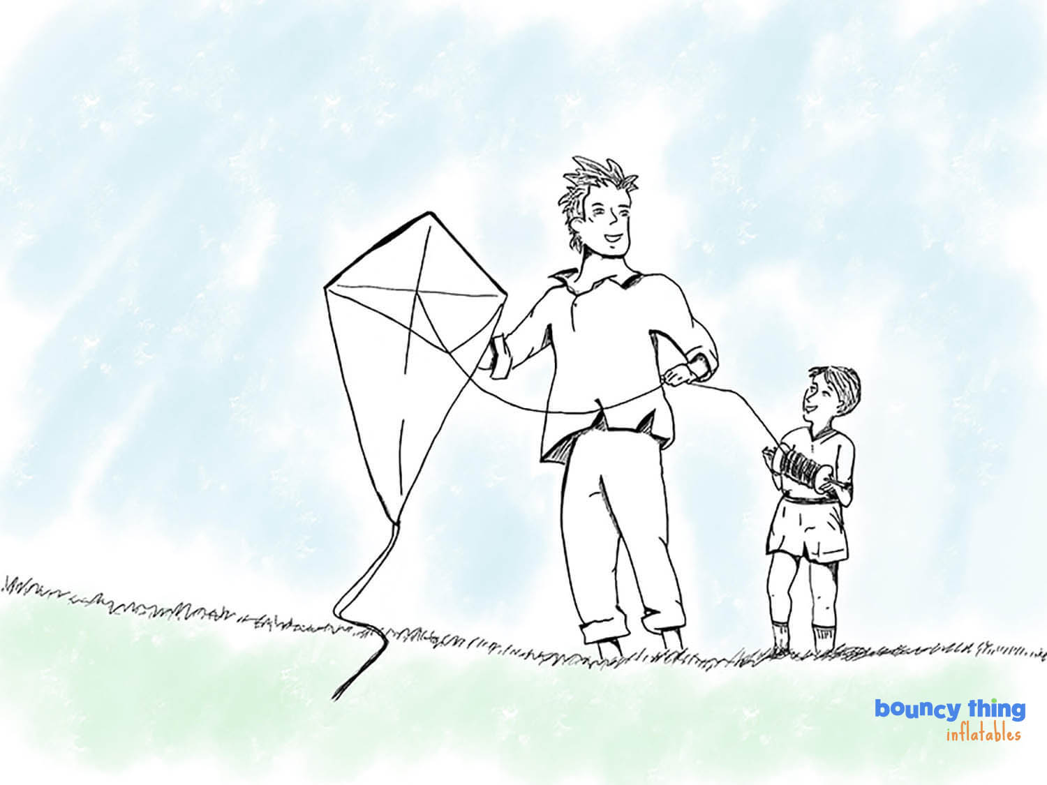 father and son flying kite